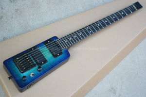Hanhai Music/Blue Travel Style Electric Guitar with Flame Maple Veneer pictures & photos