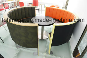 Luxury Semicircle Restaurant Booth and Round Dining Table (FOH-CXSC72) pictures & photos
