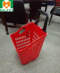Supermarket Retail Convenient 4 Wheel Shopping Basket pictures & photos