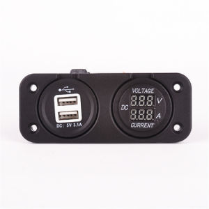 Auto Vehicle Waterproof Dual USB Socket and Voltmeter Charger pictures & photos