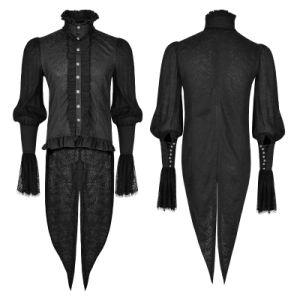 Gothic Lace Puff Sleeves Brocade Swallow-Tailed Men Shirts (Y-739) pictures & photos