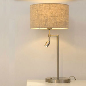 Home Bedroom LED Modern Desk Table Lamp Light with Fabric Shade, E27 + LED 3W 3000k pictures & photos