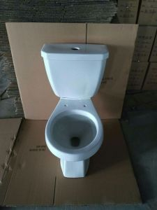 8010 Stock Sanitary Ware, Siphonic Top Push Round Two Piece Toilet pictures & photos
