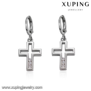 23361 Fashion Hot Sale Rhodium Plated Cubic Zirconia Cross Drop Earring pictures & photos