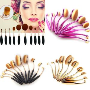 New Fashion 10PCS Toothbrush Type Cosmetic Tool Oval Makeup Brush Set pictures & photos