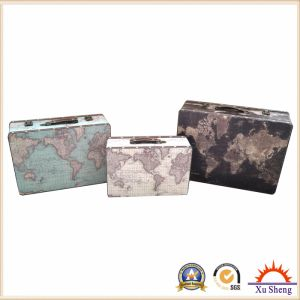 Vintage Beige World Map Print Suitcase for Storage, Jewelry Box and Gift Box pictures & photos
