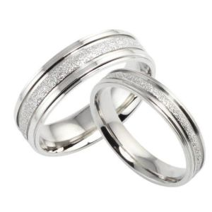 Fashion Mens Women Lover Couple Sanded Stainless Steel Rings Jewelry pictures & photos