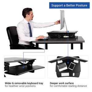 "Loctek 35"" Wide Platform Height Adjustable Standing Desk Riser, Sit-Stand Workstation, Black (MT101M) pictures & photos"