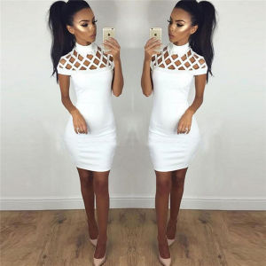 2016 Hot Sale Sexy Pure Color Round Collar Hollow out Bodycon Dress (80023) pictures & photos