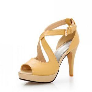 Yellow Women Sandals High Heels