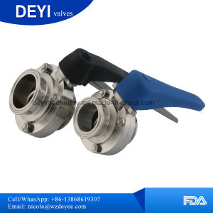 Sanitary Stainless Steel Three Pieces 3-PC Butterfly Valves pictures & photos