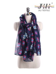 Latest Design New Fashion Voile Animal Elephant Printed Long Winter Scarf for Lady