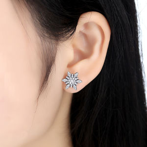 925 Sterling Silver Crystalized for Women Jewelry Snowflake Crystals Stud Earrings pictures & photos