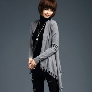 Lady Fashion Viscose Knitted Fringe Winter Cardigan (YKY2065) pictures & photos