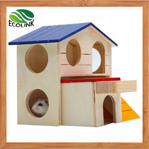 Small Animal Pet Hideout Hamster House Ladder Guinea Pig Cages Deluxe Two Layers Wooden Hut Play Toys Chews pictures & photos