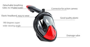 Red+Black Full Face Snorkel Mask Dry Diving M2098g Ce RoHS FDA pictures & photos