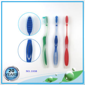 Translucent PP Handle with Tongue Cleaner Toothbrush pictures & photos
