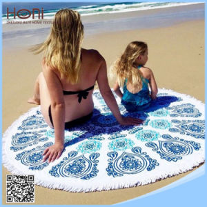 100% Cotton Round Beach Towel, Printed Round Beach Towel
