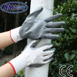 Nmsafety Nylon Palm Coated Grey Nitrile Hand Work Glove pictures & photos