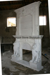 White Marble Fireplace Mantel Stone Fireplace Stone Mantel Mfp-029 pictures & photos