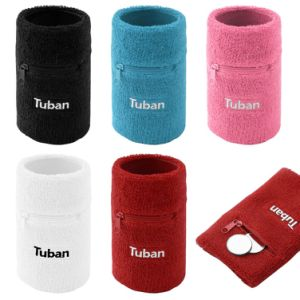 Embroidery Cotton Wholesale Zipper Pocket Wrist Sweatbands pictures & photos