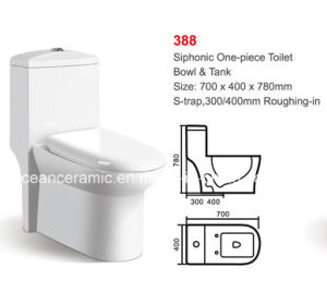 Ceramic Siphonic One-Piece Toilet (No. 388) pictures & photos