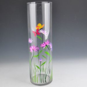 Hand Painted Round Shaped Tall Glass Vase with Capacity 1L pictures & photos