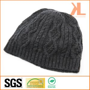 Acrylic & Wool Cable Knitted Hat pictures & photos
