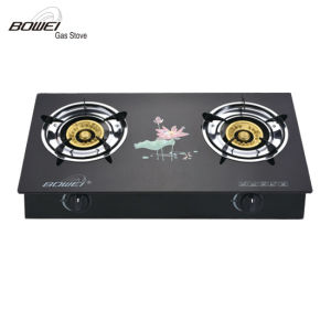 Black Tempered Glass Elegant Pattern Popular Style The Best Gas Range
