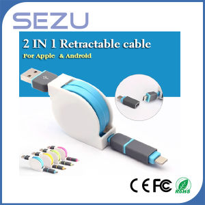 Colorful 2 in 1 Retractable Flat Noodle Data Sync Charging USB Cable for iPhone 5/5s 6 Plus Samsung S3 pictures & photos