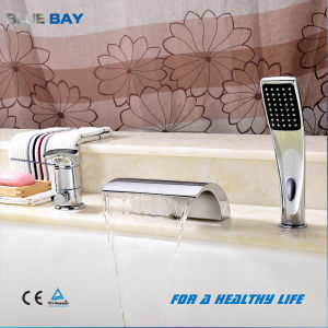 Modern Bathroom Brass Deck Mound 3 Hole Used Pull out Bathtub Faucets Waterfall Bath Mixer pictures & photos