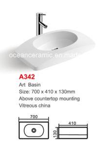 Ceramic Wash Basin (No. A342) Rectangular Oval Art Basin pictures & photos