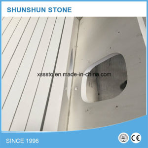 Popular White Quartz Stone Countertop for Bathroom pictures & photos