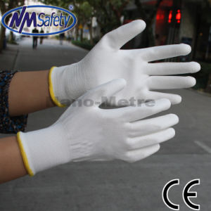 Nmsafety 13G Polyester Palm Coated White PU Safety Gloves pictures & photos