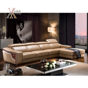 Leather Sofa with Adjustable Headrest (822)