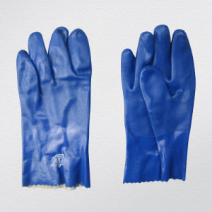 Blue Triple Dipped Smooth Finish PVC Glove-5131 pictures & photos