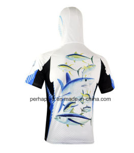 Custom Short Sleeve Fishing Hoodies with Sublimation Printing pictures & photos