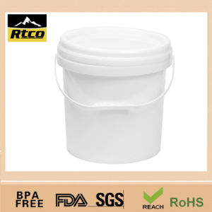 HDPE Cheap Plastic Transparent Pail with Handles Cover Lid
