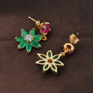 High Quality Gold Plated Garment Accessory Jade AAA Grade Zircon Earring pictures & photos