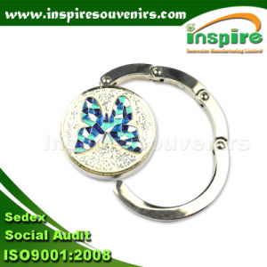 Portable Round Shape Bag Hanger with Glitter and Butterfly, Handbag Hook (BH102) pictures & photos