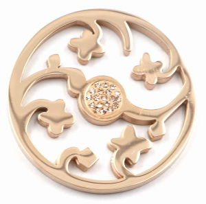Rose Gold Flower Coin Plate with Champagne Zirconia pictures & photos
