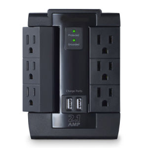 Surge Protector 6-AC Outlet Swivel with 2 USB Charging Ports pictures & photos