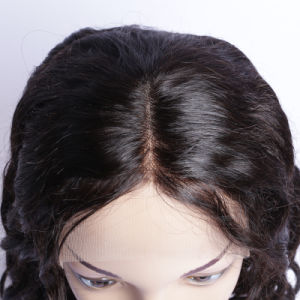 Peruvian Loose Wave Human Hair Wig Half Machine Made & Half Hand Tied with Combs and Straps African Braided Wig pictures & photos