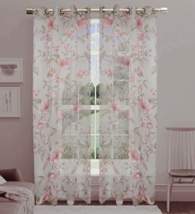 Printed Voile Grommet Panel Window Curtain (HR14WT058) pictures & photos