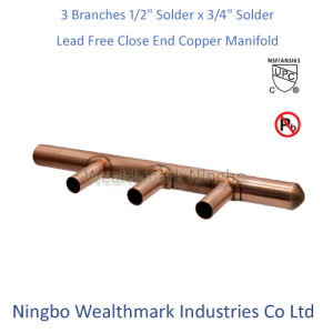 """Lead Free 3 Branches 1/2"""" Solder X 3/4"""" Solder Close End Copper Manifold pictures & photos"""