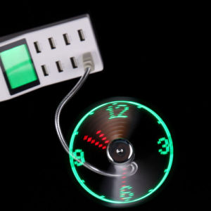 Portable Mini Home Office Flexible Gooseneck USB LED Clock Fan pictures & photos