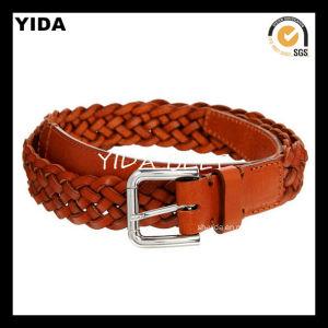 Fashion Wide Webbing Woven′s Genuine Leather Belts for Women (YD-15045)