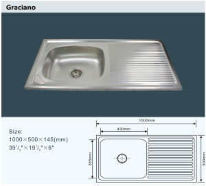 Wholesale Kitchen Bathroom Toilet Stainless Steel Hand Wash Basin with Drainboard pictures & photos