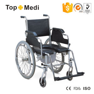 Topmedi Aluminum U Shape PU Seat Commode Chair Wheelchair pictures & photos
