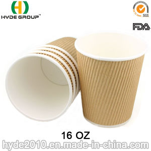 Ripple Wall Kraft Brown Paper Cup for Coffee (HDP-2001) pictures & photos